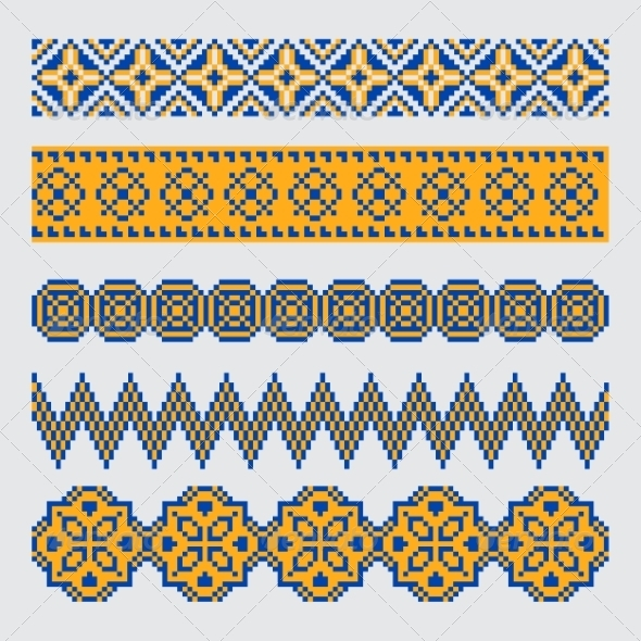 GraphicRiver Set of Pixel Ethnic Seamless Border Ornament 7395407