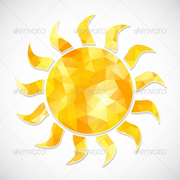 GraphicRiver Yellow Sun Label of Triangles 7395740
