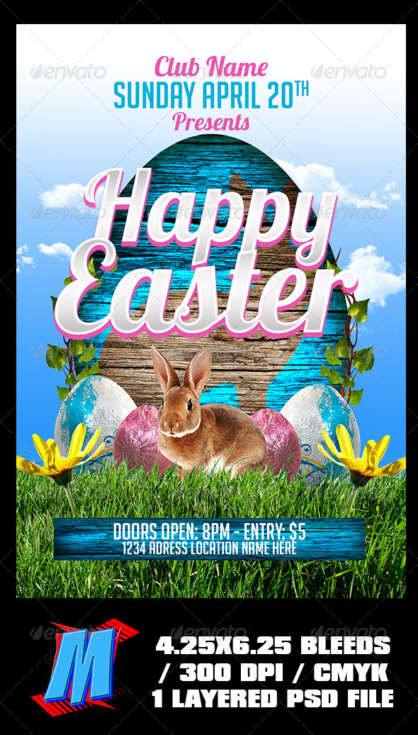 GraphicRiver Happy Easter Flyer Template 7395867