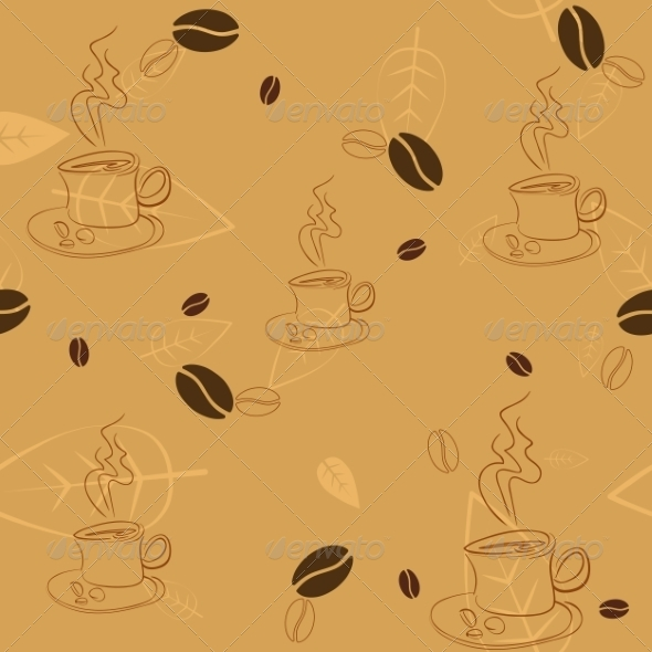 GraphicRiver Seamless Pattern with Coffee Beans Cups and Leaves 7396004