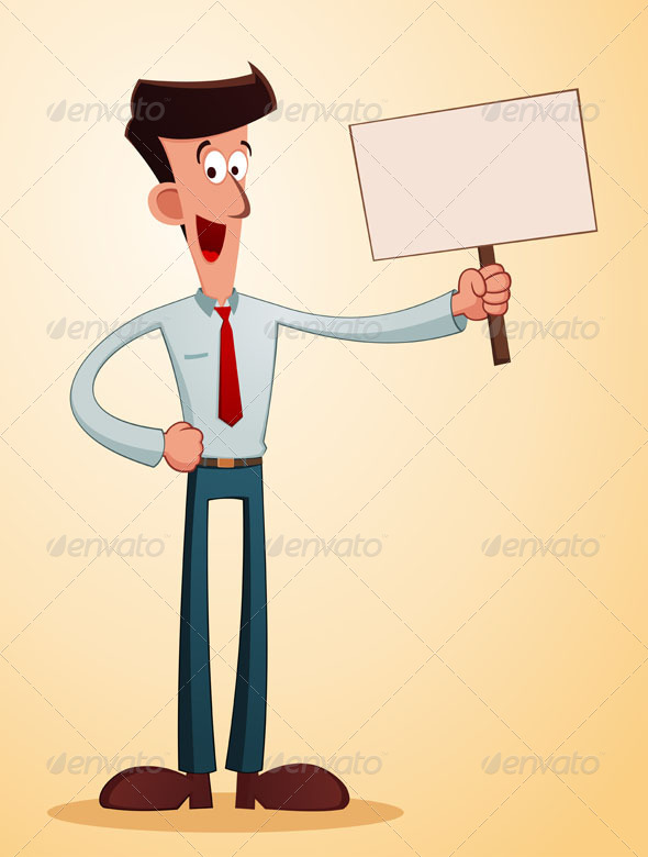 GraphicRiver Smiling Businessman Carrying a Talkingboard 7396177