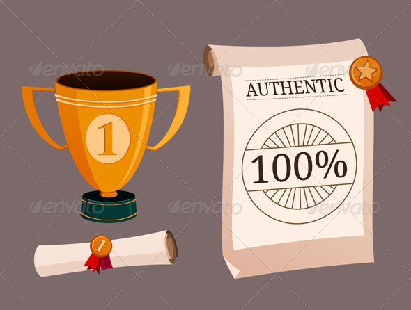 GraphicRiver A Set Illustration of Trophy And Certificate 7396178