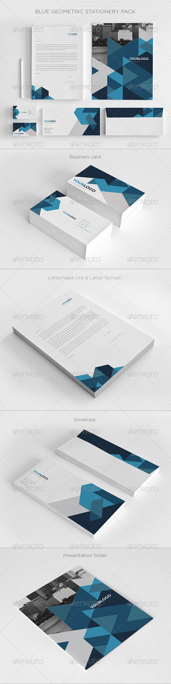 GraphicRiver Blue Geometric Stationery Pack 7396269