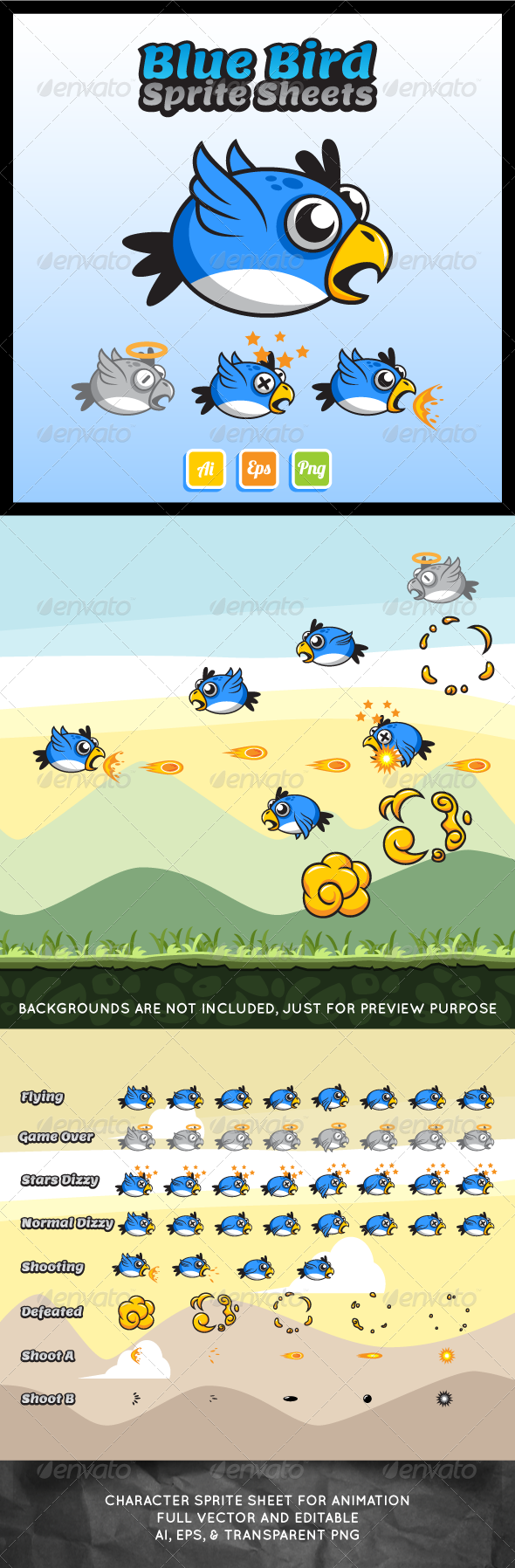 GraphicRiver Flying Blue Bird Sprite Sheet 7396361