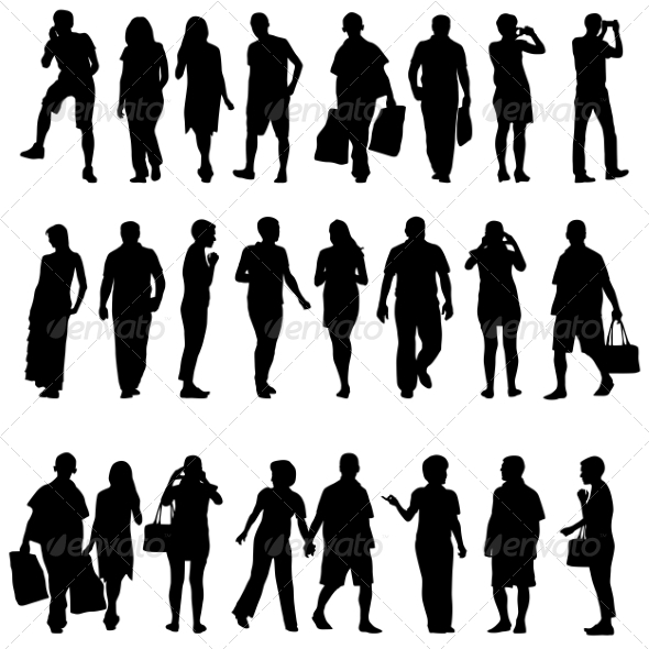 GraphicRiver Black Silhouettes of Beautiful Mans and Womans 7396974