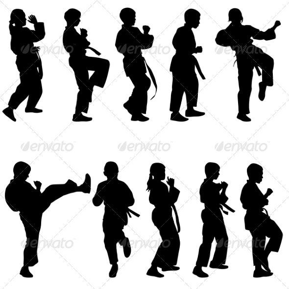 GraphicRiver Set of Black Silhouettes of Karate Sport vectors 7396976