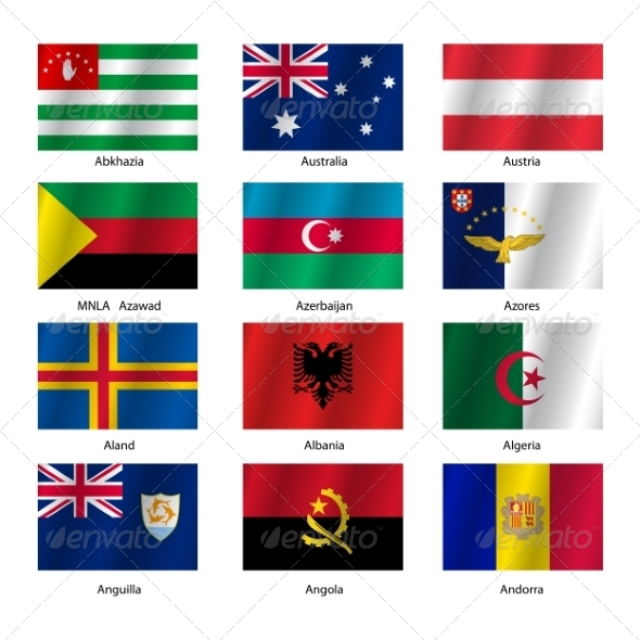 GraphicRiver Set Flags of World Sovereign States Vector Illustration 7397006