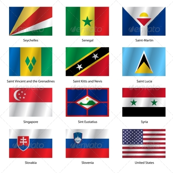 GraphicRiver Set Flags of World Sovereign States Vector Illustration 7397015