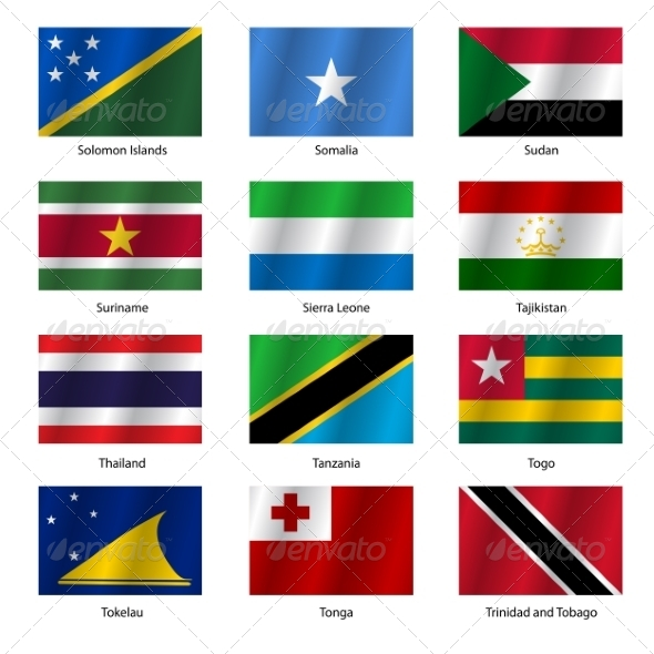 GraphicRiver Set Flags of World Sovereign States Vector Illustration 7397016
