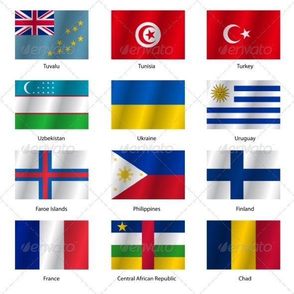 GraphicRiver Set Flags of World Sovereign States Vector Illustration 7397018