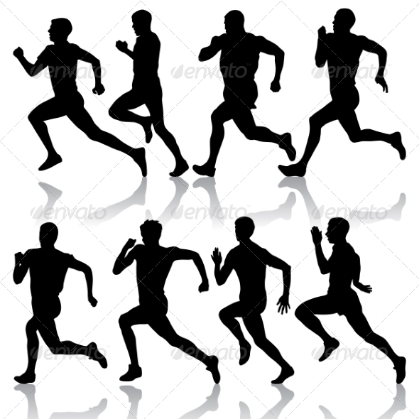 GraphicRiver Set of Silhouettes Runners on Sprint Men 7397021