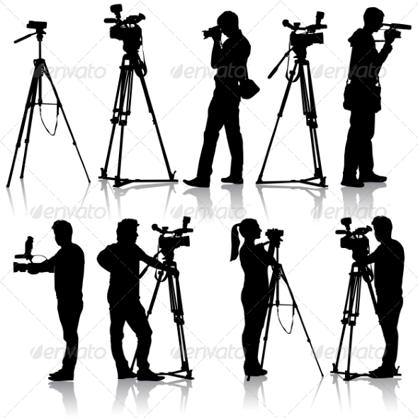 GraphicRiver Cameraman with video camera Silhouettes on white 7397031