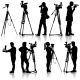 Cameraman with video camera. Silhouettes on white  - GraphicRiver Item for Sale