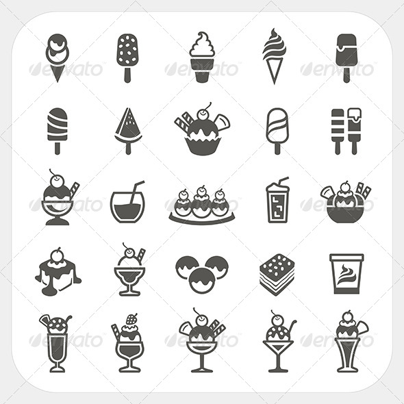 GraphicRiver Ice Cream Icons Set 7397423