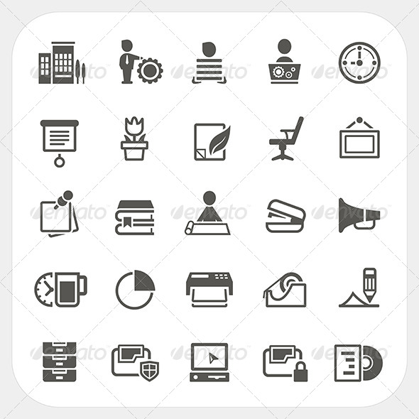 GraphicRiver Business and Office Icons Set 7397430