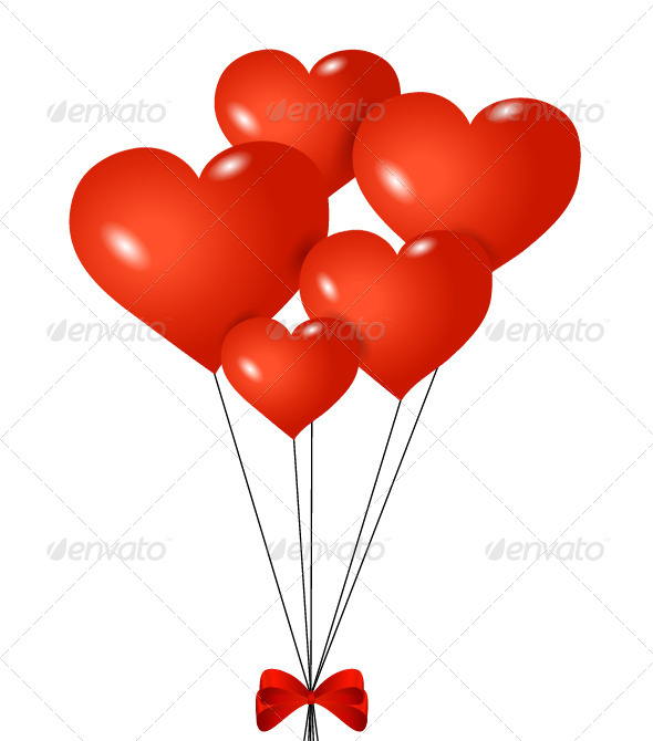 GraphicRiver Red heart-shaped balloons with ribbon 7350900