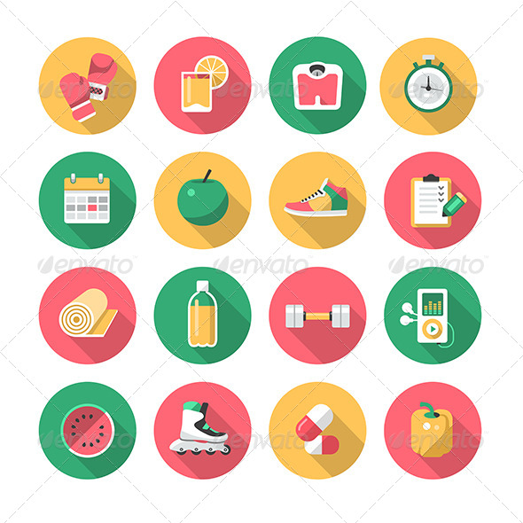 GraphicRiver Fitness Flat Icons 7398281
