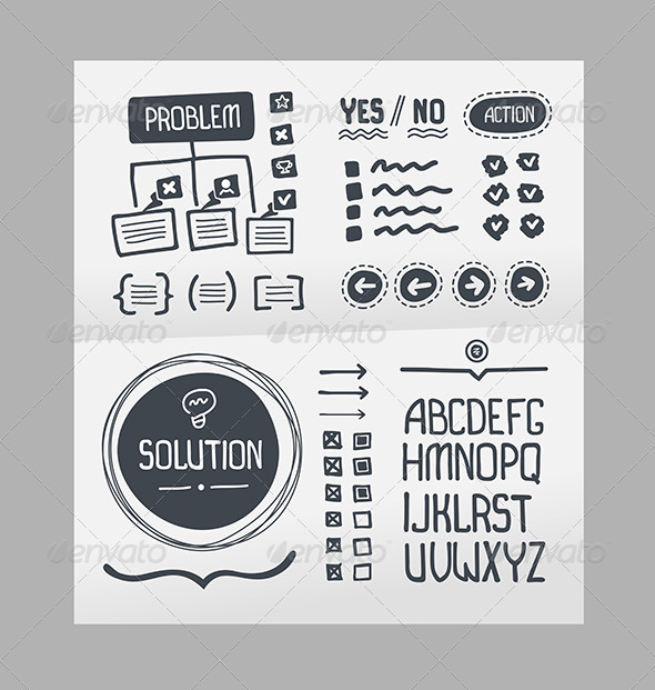 GraphicRiver Action Plan Hand Drawn Elements Template 7398291