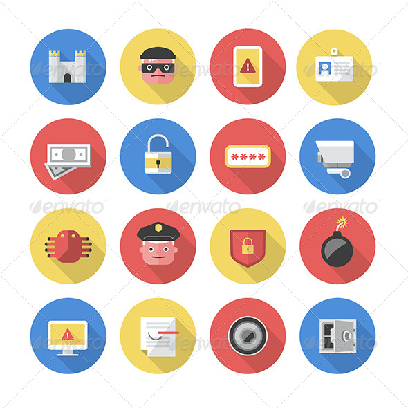 GraphicRiver Security Flat Icons 7398297