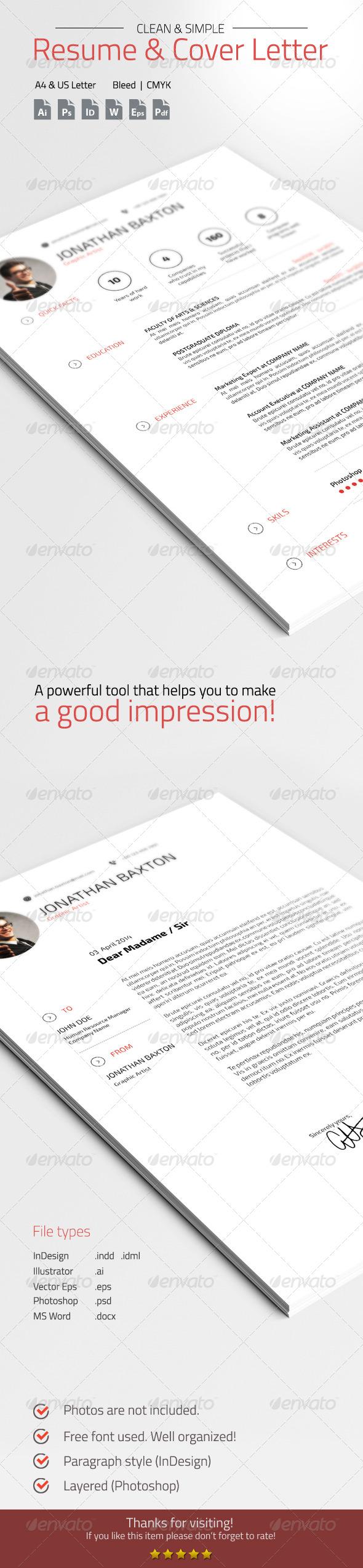 GraphicRiver Clean & Simple Resume CV 7398472