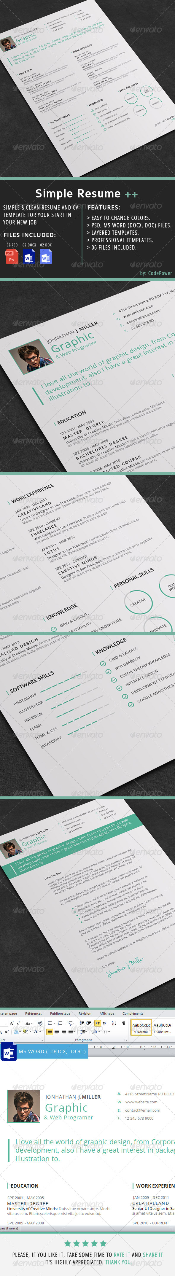 GraphicRiver Simple Resume && 7399782