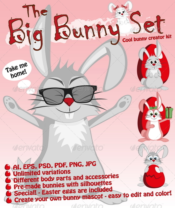 GraphicRiver The Big Bunny Set 7400065