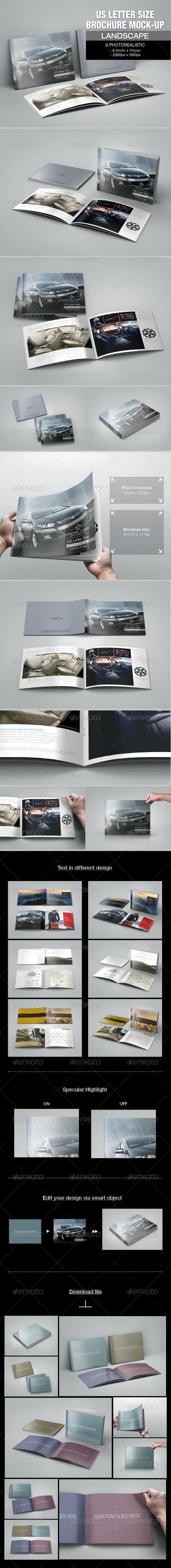 GraphicRiver US Letter Size Brochure Mock-up 7400311