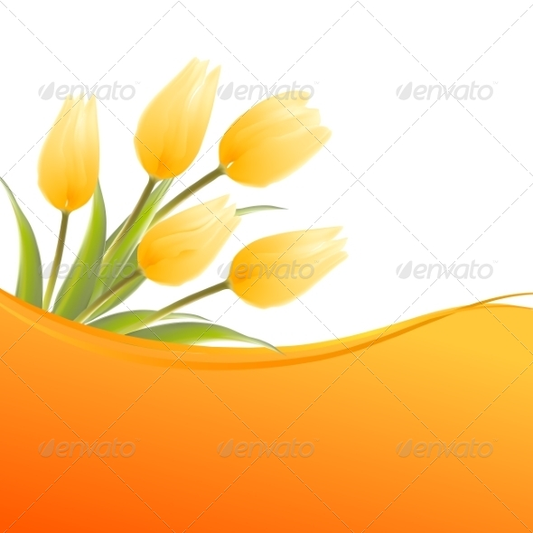 GraphicRiver Yellow Tulip Spring Bouquet 7401374