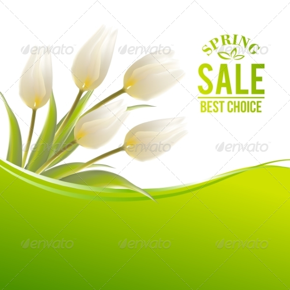 GraphicRiver White Tulip Spring Bouquet for Sale 7401383