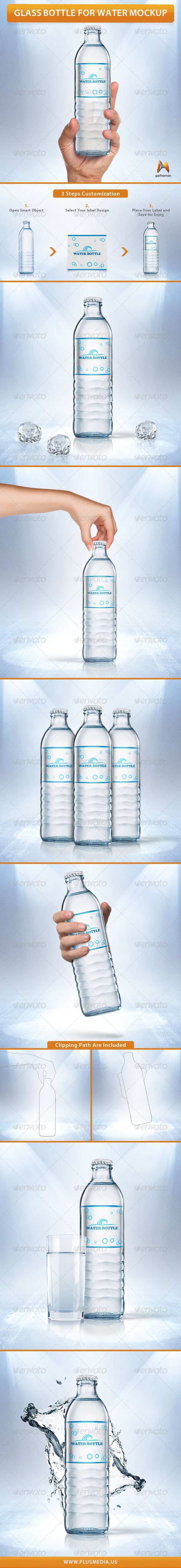 GraphicRiver Glass Bottle for Water Mockup 7401730