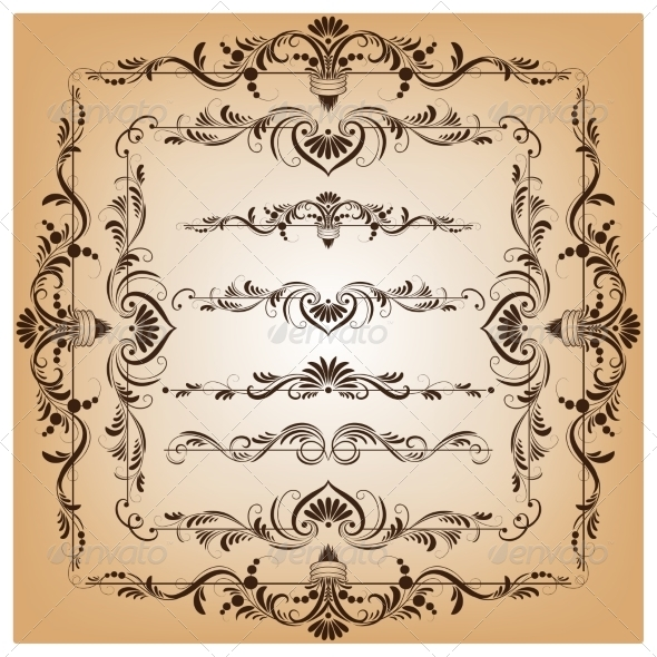 GraphicRiver Set of Borders and Frames for Design 7401728