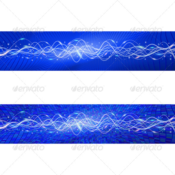 GraphicRiver Flying Wave Backgrounds in Blue 7401935