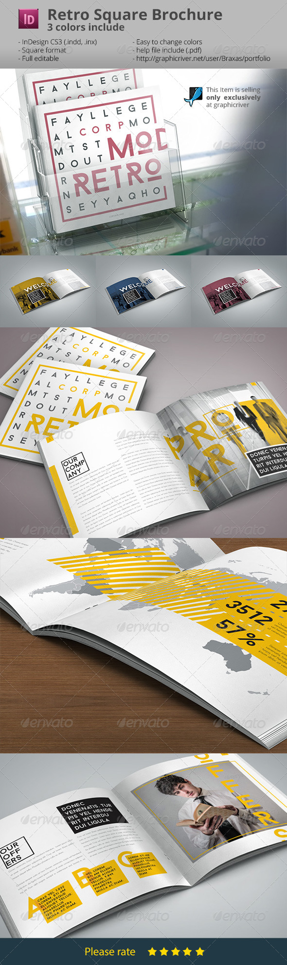 GraphicRiver Retro Style Square Brochure Indesign 7401958