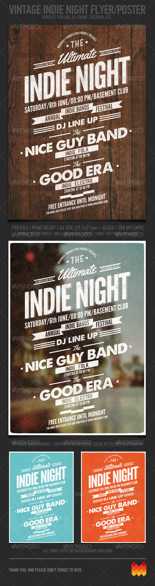 GraphicRiver Vintage Indie Night Flyer Poster 7402686
