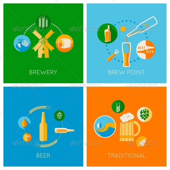 GraphicRiver Set of Flat Beer Design Icons 7402939
