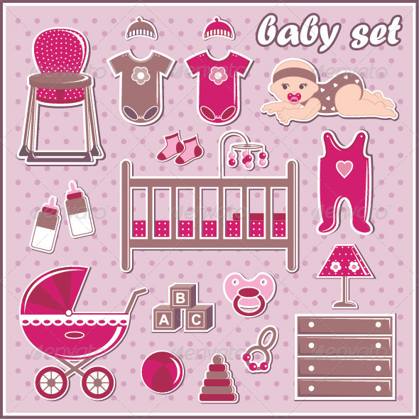 GraphicRiver Set of Baby Girl Icons 7403546