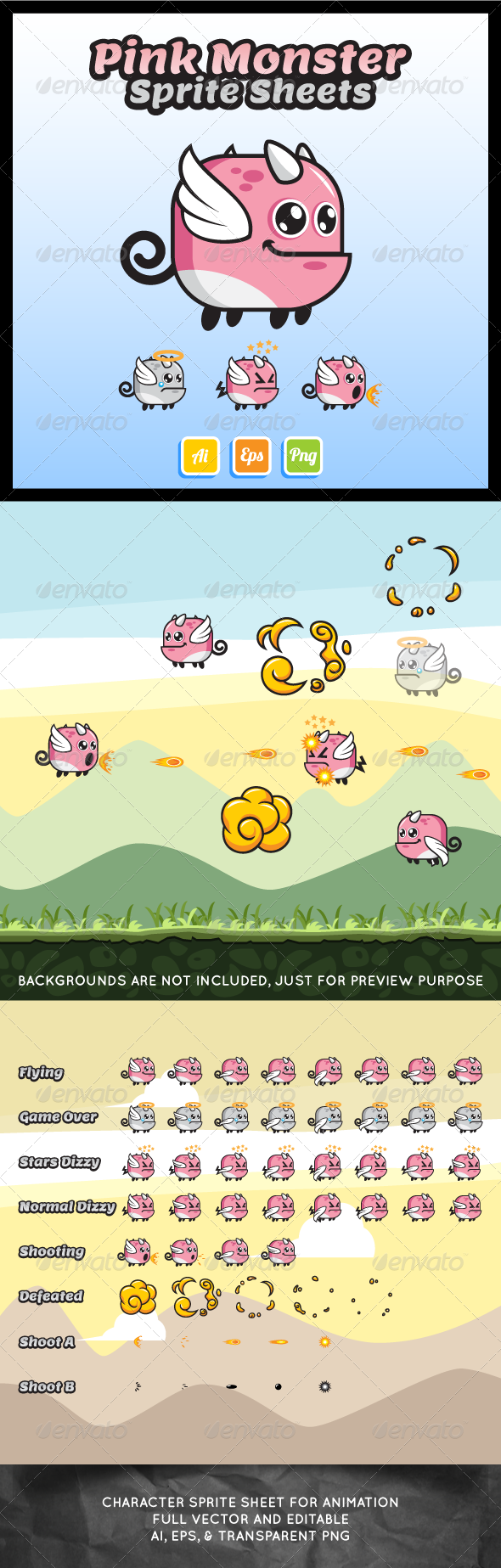 GraphicRiver Pink Monster Sprite Sheet 7403550