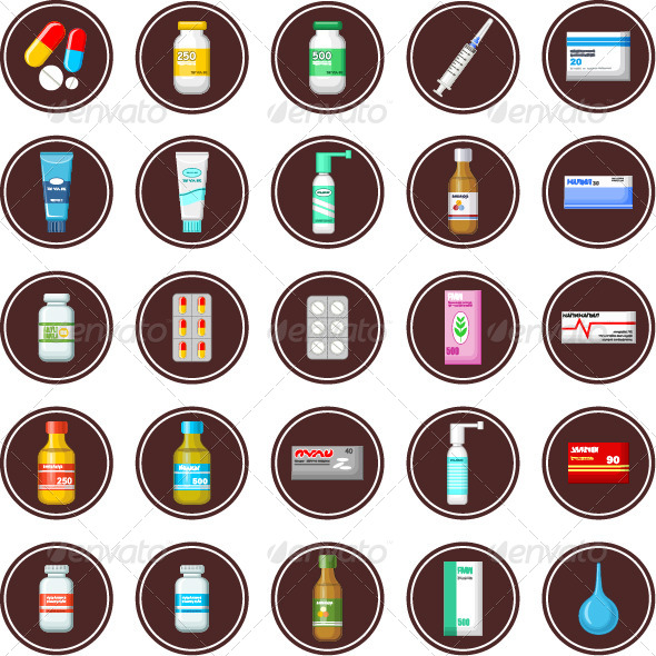 GraphicRiver Medicament Set of Icons 7403761