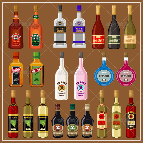GraphicRiver Alcoholic Beverages Set 7403795