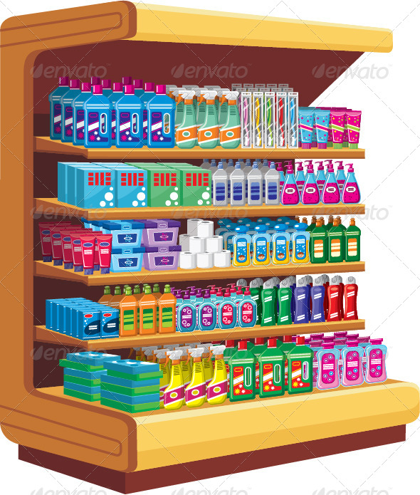 GraphicRiver Shelves with Household Chemicals 7403863