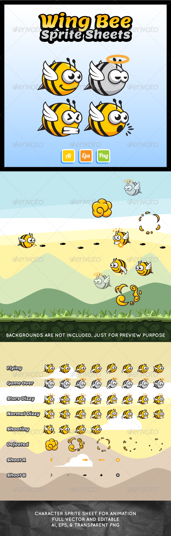 GraphicRiver Wing Bee Sprite Sheet 7404744