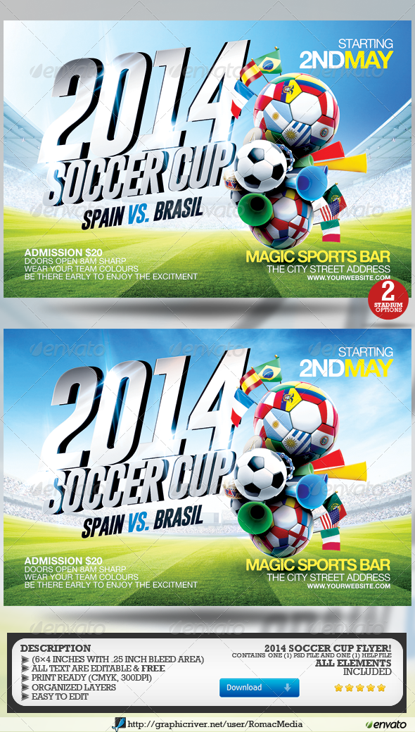 GraphicRiver Soccer Cup 2014 Flyer 7404811