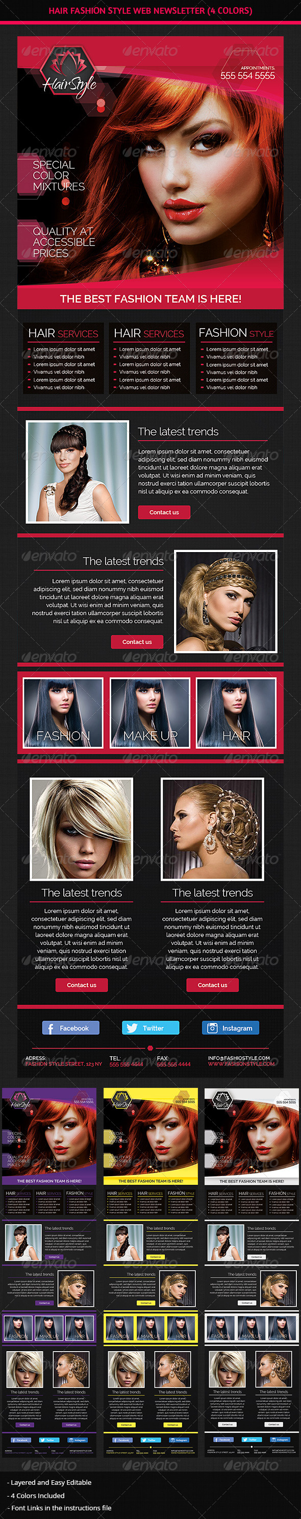 GraphicRiver Hair Salon Fashion Style Web Newsletter 7405134