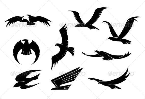 GraphicRiver Silhouette Set of Flying Birds 7405463