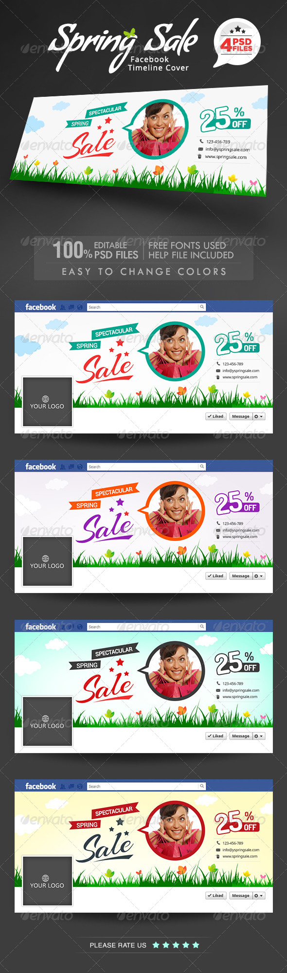 GraphicRiver Spring Sale Facebook Cover 7405998