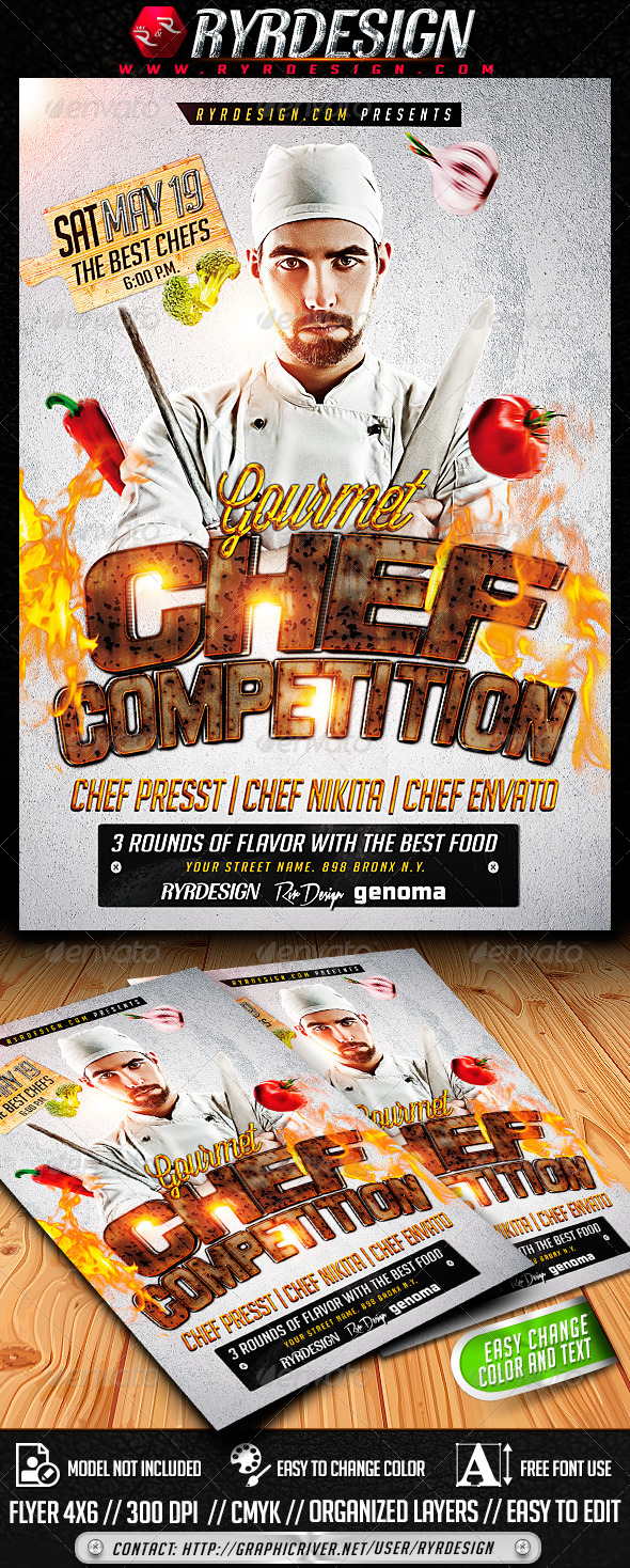 GraphicRiver Chef Food Contest Flyer PSD 7406282