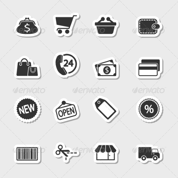 GraphicRiver Market Icons Set as Labels 7406320