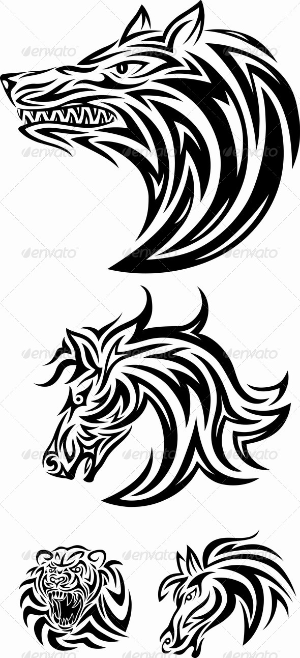GraphicRiver Wolf Horse and Tiger 7406512