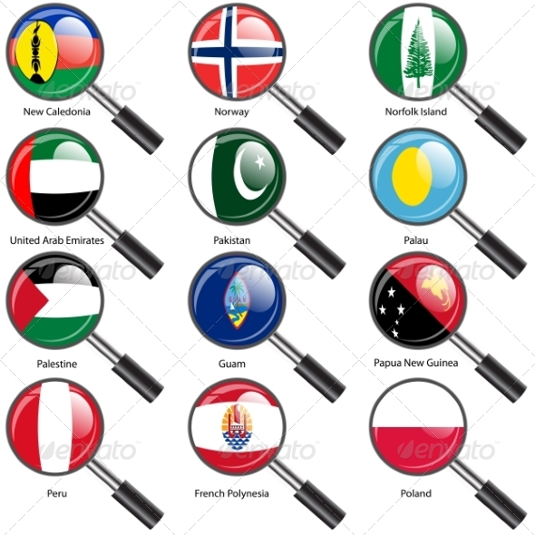 GraphicRiver Flags of World Sovereign States Magnifying Glass 7407059