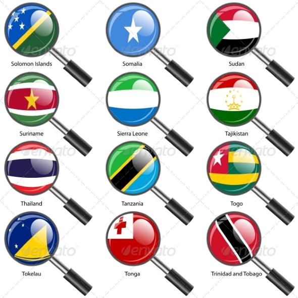 GraphicRiver Flags of World Sovereign States Magnifying Glass 7407248